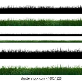 set of three high resolution 3d green grass with alpha mask