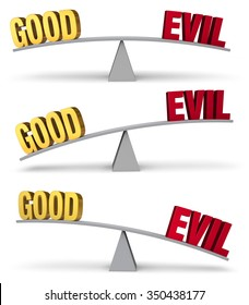 "A set of three images of a red ""EVIL"" and a gold ""GOOD"" on opposite ends of a gray balance board in turns outweighing or balancing each other. Isolated on white."
