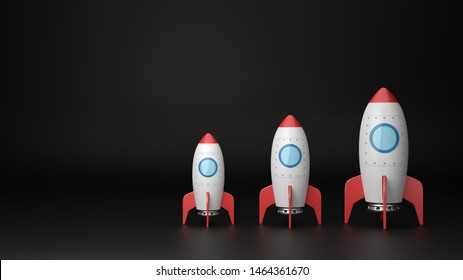 Set of Three Increasing Size Red and White Cartoon Spaceships on Dark Background with Copy Space 3D Illustration