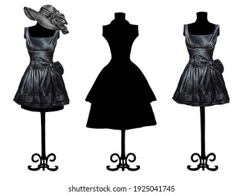 Set of three mannequins with dresses, one of which is in the form of a silhouette. Hand drawn. Illustrations. Fashion sketch. Closeup. Print. Template.