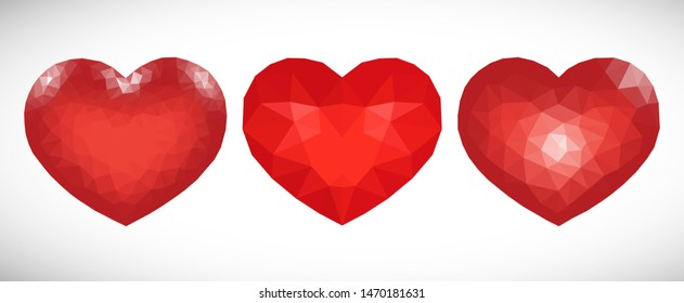 Set of three Red Low Poly Hearts on white background. Symbol of Love