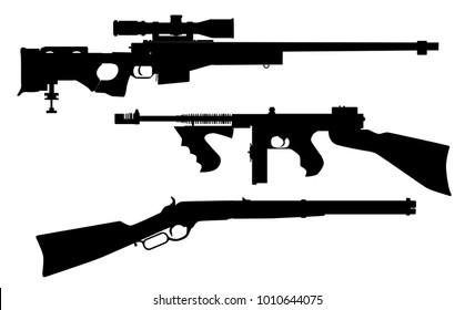 A set of three rifle silhouettes over white.