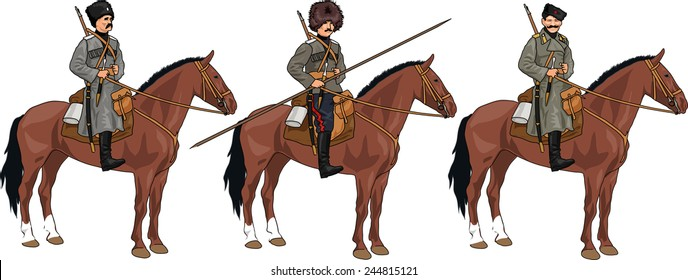 Set of Three Russian Cossacks from 20th Century on the Horses Isolated on White Background