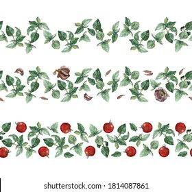 Set of three seamless borders of green basil, garlic and cherry tomatoes, isolated on white. Watercolour illustration. For duct tape, invitations, recipe, cookbook, menu and packaging design.
