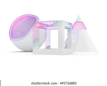 a set of three simple geometric objects with visible wireframe. 3D illustration isolated on white background.