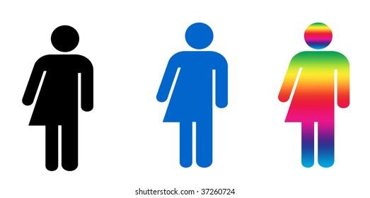 a set of three symbols illustrating gender variance