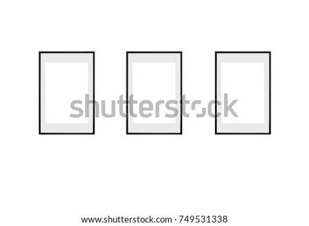 Set Three Vertical Frames Mock Pictures Stock Illustration 749531338 ...