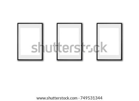 Set Three Vertical Frames Mock Pictures Stock Illustration 749531344 ...