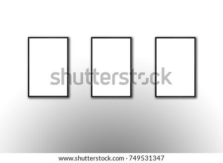Set Three Vertical Frames Mock Pictures Stock Illustration 749531347 ...