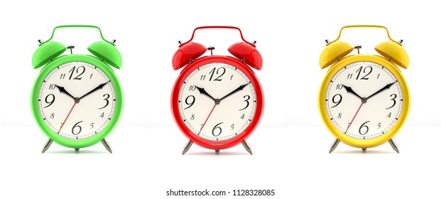 Set of three vintage alarm clocks in green, red and yellow, with numbers, isolated on white background. 3D illustration