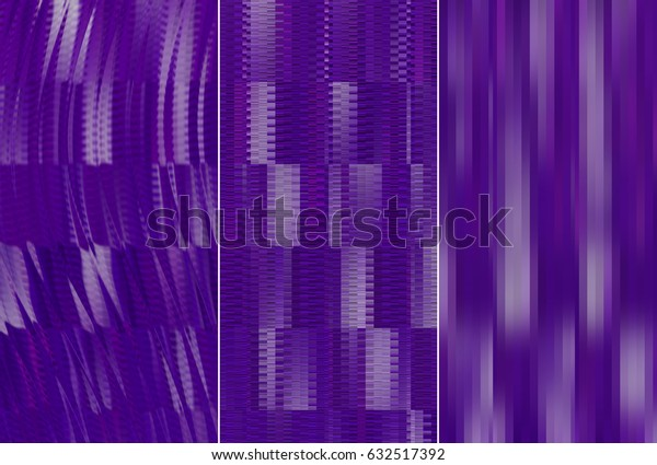 Set of three violet backgrounds and illustrations with abstract picture