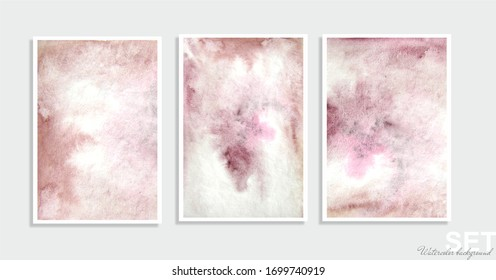 A set of three watercolor backgrounds in one color scheme. Illustration.