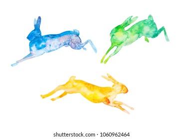 Set of three watercolor jumping rabbits. Raster illustration