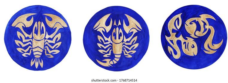 Eine Reihe von drei Tierkreiszeichen - Krebs, Scorpio und Pisces. Element des Wassers. Goldene Schilder auf blauem Hintergrund. Handgezeichnet. Einzeln.
