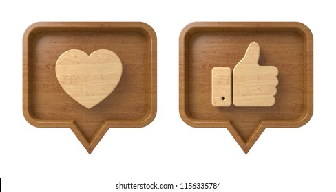 Set Thumbs up and heart icon on a wooden pin isolated on white background. Brown Like symbol. 3d render