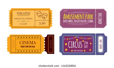 Set of tickets on various events: theater, cinema, circus, amusement park. Colorful tickets, entertainment program, festival. Tickets for pass in hall of the cinema, and theatre. illustration.