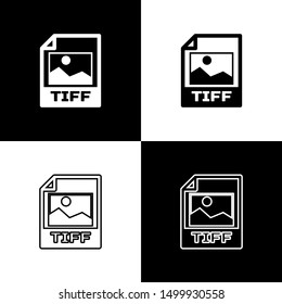 Set TIFF file document icon. Download tiff button icons isolated on black and white background. TIFF file symbol