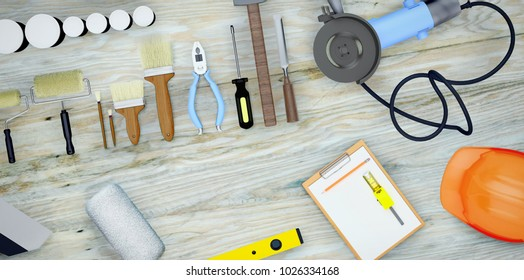 Set of tools and paints for making repair on wooden background. 3D illustration