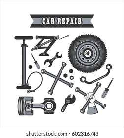 set of tools and spare parts of the car on a white background