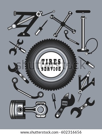 Royalty Free Stock Illustration Of Set Tools Spare Parts Car Name