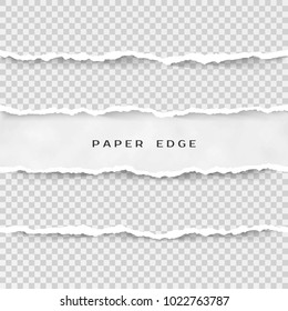 Set of torn paper stripes. Paper texture with damaged edge isolated on transparent background. illustration