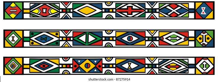 Set of traditional african ndebele patterns - illustration