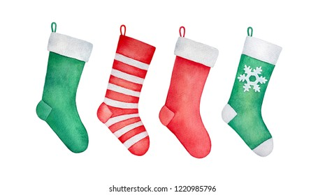 Set of traditional Christmas stockings. Fur trim and classic red, green and white color match. Cozy and beautiful December accent. Hand drawn watercolour painting, cutout clip art elements for design.