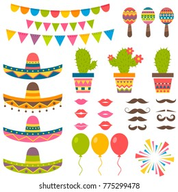 set with traditional Mexican symbols for festival. Raster version