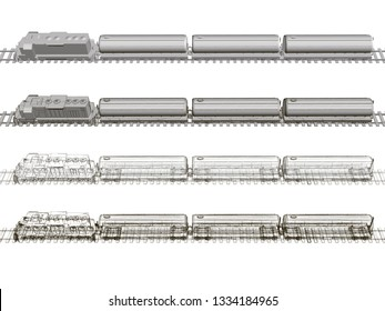 Set with a train with tanks. Polygonal train with fuel tanks on the rails. The wireframe of the train carrying fuel in tanks. Side view. 3D illustration