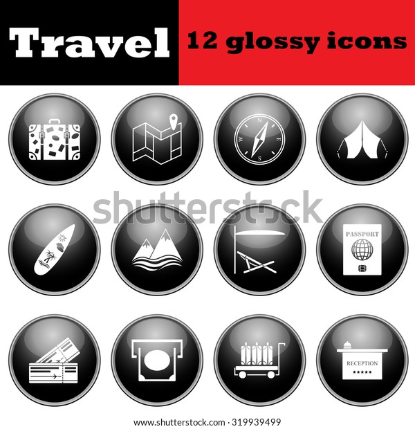 Set of travel glossy icons.  Raster illustration.