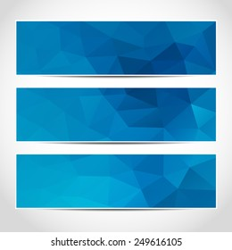 Set of trendy blue banners template or website headers with abstract geometric background. Design illustration
