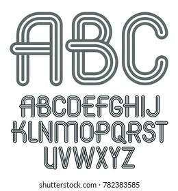 Set of trendy capital alphabet letters, abc isolated. Retro type font, script from a to z can be used for logo creation. Created using triple stripy, parallel lines.