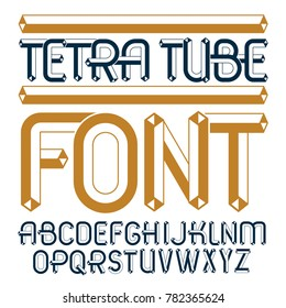 Set of trendy fun  capital English alphabet letters isolated. Special regular type font, script from a to z can be used for logo creation. Made using cube tetra tube design.