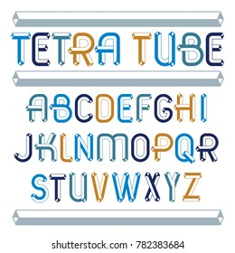 Set of trendy fun  capital English alphabet letters isolated. Special type font, script from a to z can be used for logo creation. Made using geometric tetra tube design.