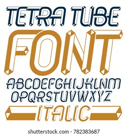 Set of trendy fun capital English alphabet letters, abc isolated. Special italic type font, script from a to z can be used for logo creation. Made with industrial 3d tetra tube design.