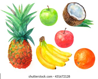 set of tropical fruit, pineapple, bananas, oranges, apples, red and green, on a white background, watercolor painting, realistic illustration