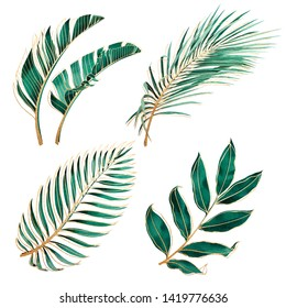 Set of tropical plants. Botanical watercolor green exotic leaves with gold outline. Coconut palm, monstera, banana tree.