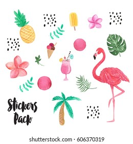 Set of Tropical Watercolor Elements, Pineapple, Palm Tree, Flamingo, Palm Leaf, Flowers. Stickers Pack.