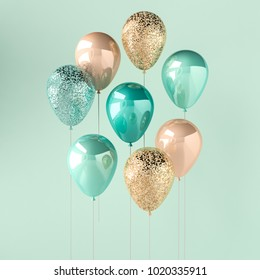 Set of turquoise and golden glossy balloons on the stick with sparkles on blue background. 3D render for birthday, party, wedding or promotion banners or posters. Vivid and realistic illustration.