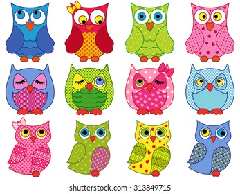 Set of twelve colourful cartoon owls with various characters isolated on white background