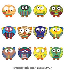 Set of twelve cute cartoon oval owls in various pattern isolated on the white background, cartoon outlines as icons