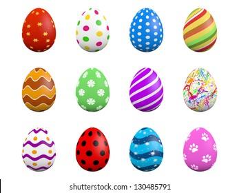 Set of twelve easter eggs isolated on white (3D render)