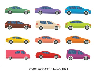 Set of twelve multicolored cars on a white background