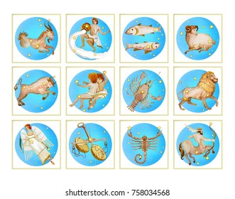Set of twelve signs of the zodiac in blue color, watercolor in retro style. Isolated on white background