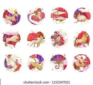 Set of twelve signs of the zodiac, watercolor in retro style. Isolated on a colored  pattern background