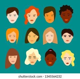 Set twelve women flat portrait