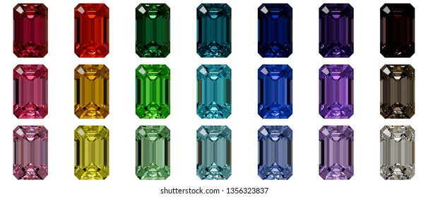 Set von zwanzig einfarbigen smaragdfarbenen Steinen einzeln auf weißem Hintergrund. 3D-Illustration