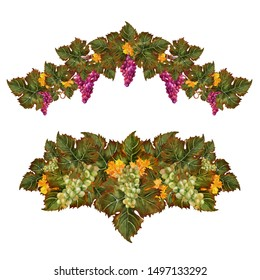 A set of two beautiful holiday wreaths collected from green grape leaves and bunches of ripe grapes of different varieties. Design elements are painted in watercolor, for decor, cards, labels, menus.