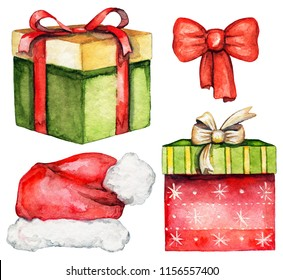 Set with two boxes with Christmas gifts, Santa Claus hat and red bow isolated on white background. Watercolor hand drawn illustration