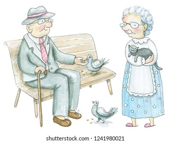 Set of  two elderly people isolated on white background. Watercolor hand drawn illustration